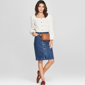 Universal Thread Denim Button Down Jean Skirt